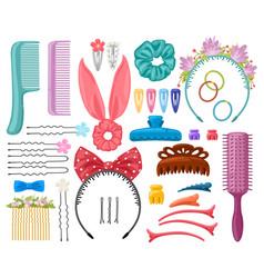 hair accessories woman hair items hair clips vector image