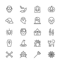 Halloween thin icons vector