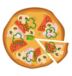 hammushroom and tomato pizzaprint vector image