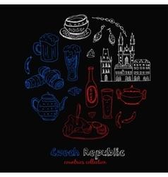 Hand drawn doodle Czech Republic travel set vector image