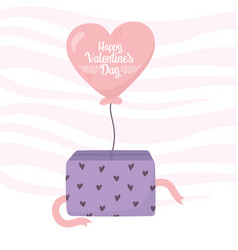 happy valentines day balloon shaped heart coming vector image
