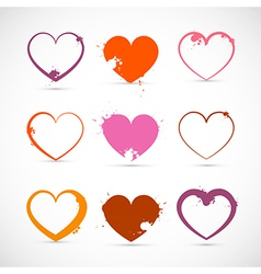 heart set grunge pink red orange valentine symbols vector image