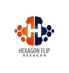 hexagon flip initial letter h logo concept design vector image