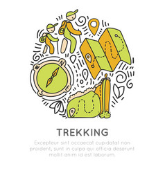 Hiking and trekking icon hand draw concept vector