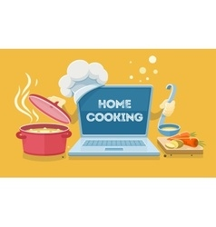 Home food cooking online vector