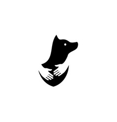 human hand hugs dog in negative space logo icon vector image