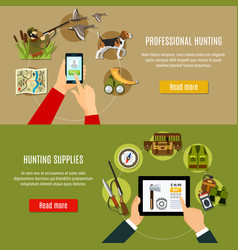 hunting shop banners set vector image