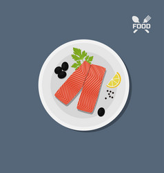 Icon of salmon fillet on a plate top view vector