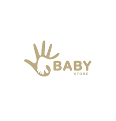 Isolated abstract beige baby foot in adult hand vector