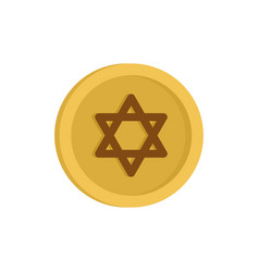 Jewish gold coin icon flat style vector