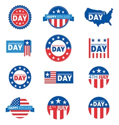 Label and tag set independence day 4th july vector