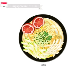 Laksa or Singaporean Rice Noodle in Spicy Soup vector image