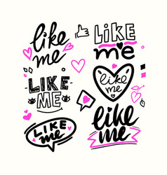 like me hand drawn style font social media themed vector image