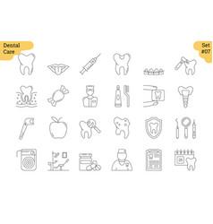 Linear icon set 7 - dental care vector