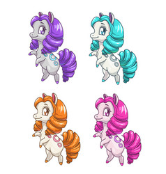 little cute cartoon horse vector image