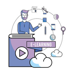 Man with online book education and cloud load vector