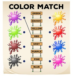 Matching worksheet with colors and words vector