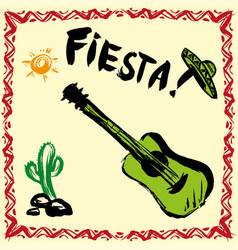 Mexican fiesta party invitation with maracas vector