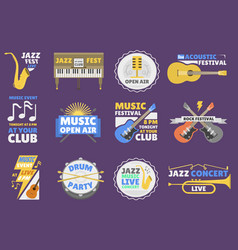 Music festival logo badge entertainment vector