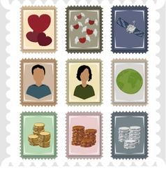 Nine stamps vector