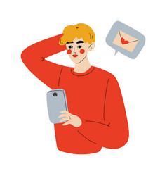 online dating young man using smartphone for vector image