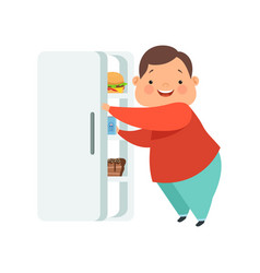 Overweight boy opening fridge with junk food cute vector