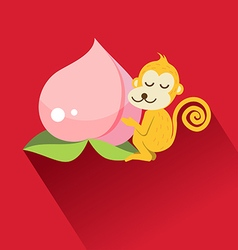 Peach and monkey for Chinese new year vector image