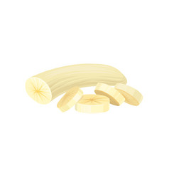 Peeled banana with four sliced pieces graphic vector