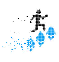 Person climb ethereum dissipated pixel icon vector
