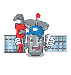 Plumber satelite mascot cartoon style vector