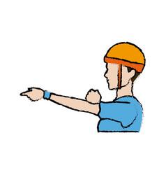 portrait sport man climber helmet protection vector image