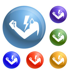 power hand bolt icons set vector image