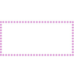 Rectangle frame made of pink animal paw prints on vector