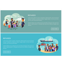 Refugees collection web pages vector