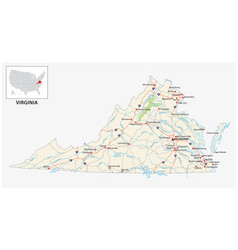 road map us american state virginia vector image