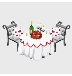 Romantic dinner champagne flowers and candles vector