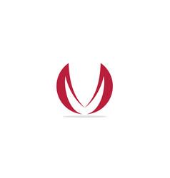 round m initial curve logo vector image