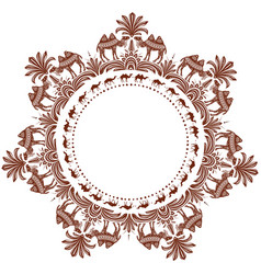 Round ornament pattern with camels vector