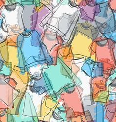 Seamless pattern of colorful clothes for stylish vector image