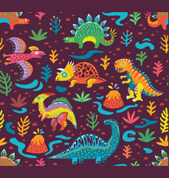 Seamless pattern with cartoon dinosaurs vector