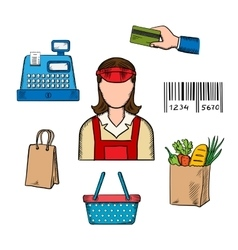Seller profession and shopping icons vector