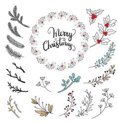 set christmas branch and mistletoe vector image