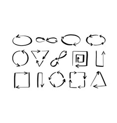 set hand-draw arrows doodle sketch style vector image
