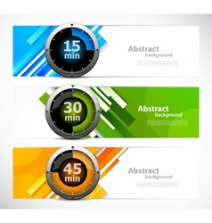Set of banners with timers vector