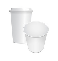set of realistic paper coffee cup with white cap vector image