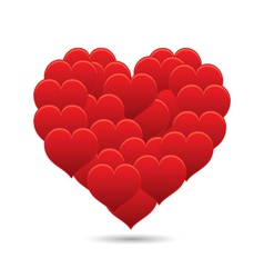 Shiny little red hearts in a shape of a big heart vector