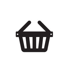 shopping basket - black icon on white background vector image