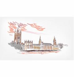 sketch london line watercolor colorful vector image