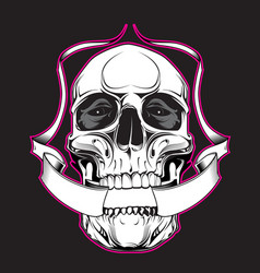 Skull with ribbon vector