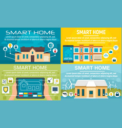 smart home banner set flat style vector image